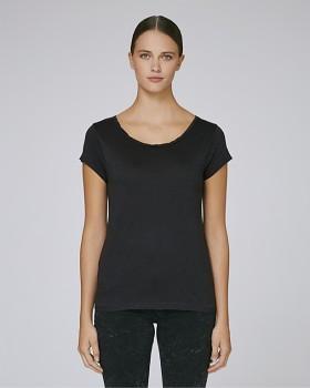 STELLA PARADES Dámské tričko s velkým výstřihem z biobavlny a modalu - černá