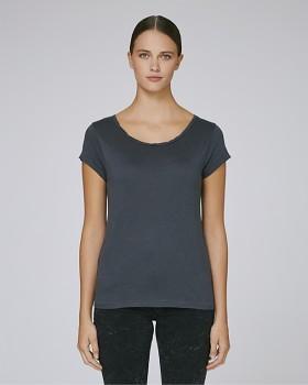 STELLA PARADES Dámské tričko s velkým výstřihem z biobavlny a modalu - tmavě šedá india ink