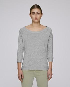 STELLA AMAZES Dámské tričko s 3/4 rukávy z tencelu a biobavlny - šedá heather melange