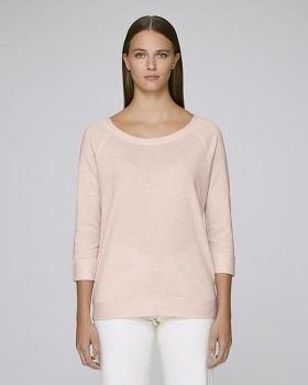 STELLA AMAZES Dámské tričko s 3/4 rukávy z tencelu a biobavlny - růžová cream heather pink