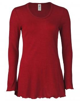 Dámská pyžamová tunika s dlouhými rukávy z merino vlny a hedvábí - červená malve