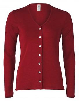 Dámský svetřík s dlouhými rukávy z bio merino vlny a hedvábí - červená malve