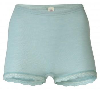 Dámské kalhotky s nohavičkami z merino vlny a hedvábí s krajkovým lemem - světle modrá glacier