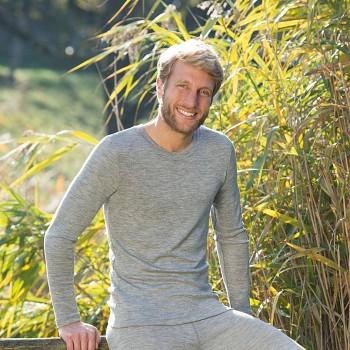 Pánské tričko s dlouhými rukávy z bio merino vlny a hedvábí - světle šedá melange