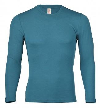 Pánské  triko s dlouhými rukávy ze 100% bio merino vlny - tyrkysová