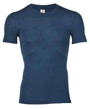 Pánské tričko s krátkými rukávy ze 100% bio merino vlny - modrá safírová