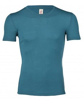 Pánské tričko s krátkými rukávy ze 100% bio merino vlny - tyrkysová
