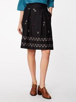 PAPILLO dámská vyšívaná sukně z konopí - černá