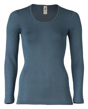 Dámské triko s dlouhými rukávy z bio merino vlny a hedvábí - modrá atlantic