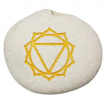 CHAKRA oblázek se symbolem čakry solar plexus