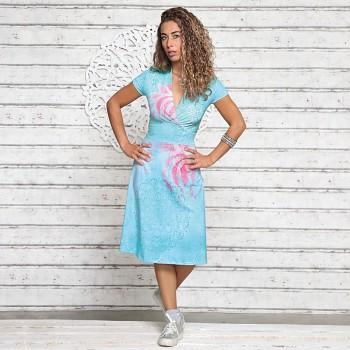 SOMERWIND Dámské šaty z biobavlny a modalu s růženínem - duhová