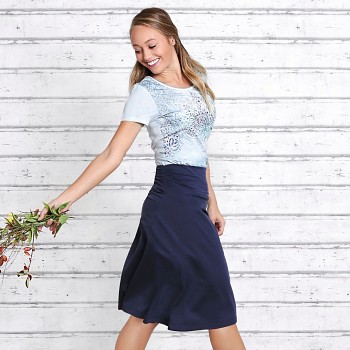 LANG Dámská sukně z biobavlny a modalu s růženínem - tmavě modrá
