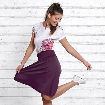 LANG Dámská sukně z biobavlny a modalu s růženínem - fialová lilková