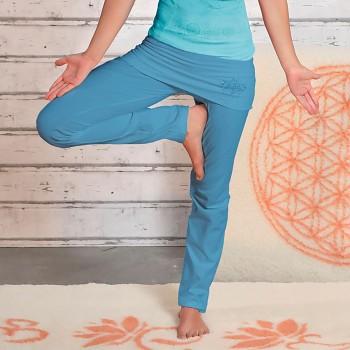 ROSE Dámské úpletové kalhoty na jógu z biobavlny - modrá aloha