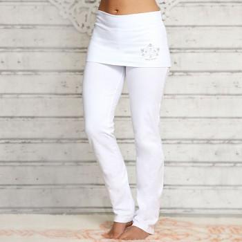 ROSE Dámské úpletové kalhoty na jógu z biobavlny - bílá