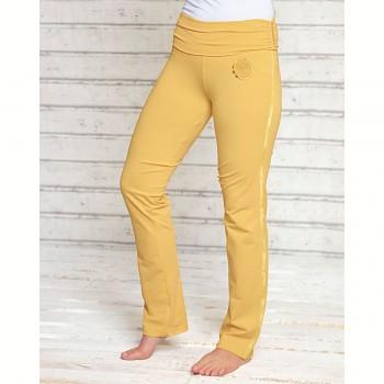 ROSE Dámské úpletové kalhoty na jógu z biobavlny - žlutá