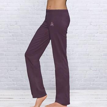 WELLNESS Dámské úpletové kalhoty na jógu z biobavlny - fialová lilková