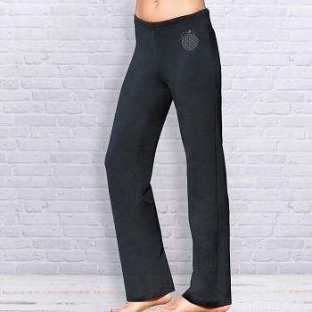 WELLNESS Dámské úpletové kalhoty na jógu z biobavlny - černá