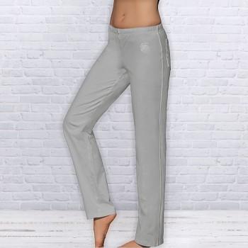 WELLNESS Dámské úpletové kalhoty na jógu z biobavlny - šedá
