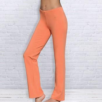 WELLNESS Dámské úpletové kalhoty na jógu z biobavlny - oranžová