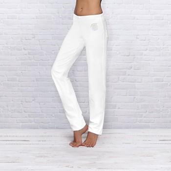 WELLNESS Dámské úpletové kalhoty na jógu z biobavlny - bílá