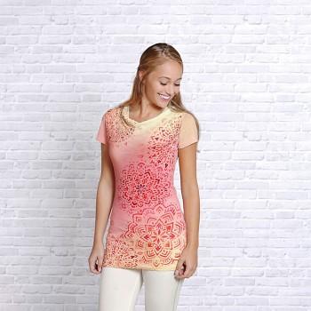 AKVAREL Dámský top s krátkými rukávy z bambusu a biobavlny s růženínem - světle růžová
