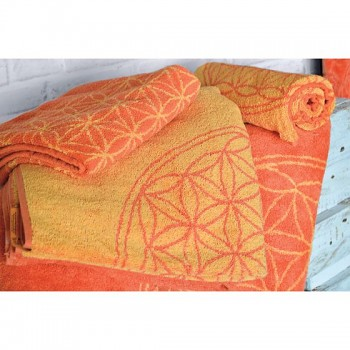 SUN ručník  ze 100% biobavlny s růženíny a ametysty (48cm x109cm)  - oranžovo/žlutý