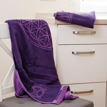 HORTENZIA ručník  ze 100% biobavlny s růženíny a ametysty (30 x 46cm)  - fialová
