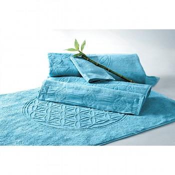 FLOWER OF LIFE koupelnová předložka z bambusu a biobavlny s růženíny a ametysty (48 x 65 cm)  - modrá