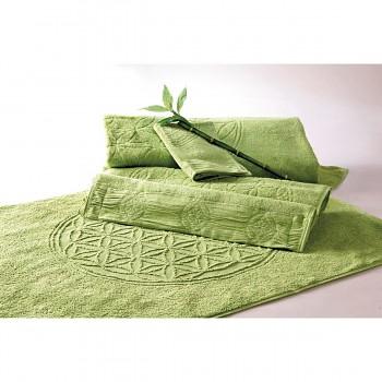 FLOWER OF LIFE koupelnová předložka z bambusu a biobavlny s růženíny a ametysty (48 x 65 cm)  - zelená