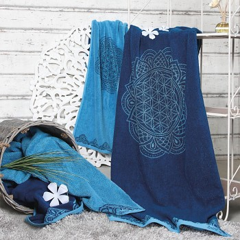HAPPY LIFE ručník  ze 100% biobavlny s růženíny a ametysty (69 x 155 cm)  - modrá