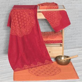 HAPPY LIFE ručník  ze 100% biobavlny s růženíny a ametysty (48cm x 109cm)  - korálovo/rubínová