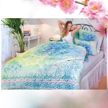 BLUE DREAM povlak na polštář ze 100% biobavlny (80 x 80 cm) s růženínem  - modrá
