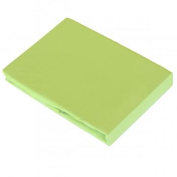 GREEN napínací žerzejové prostěradlo ze 100% biobavlny (180-200 x 200 cm) s růženínem  - zelená