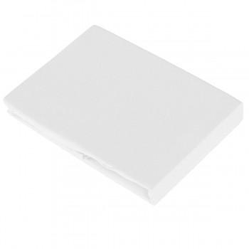 WHITE  napínací žerzejové prostěradlo ze 100% biobavlny (90-100x200 cm) s růženínem  - bílá