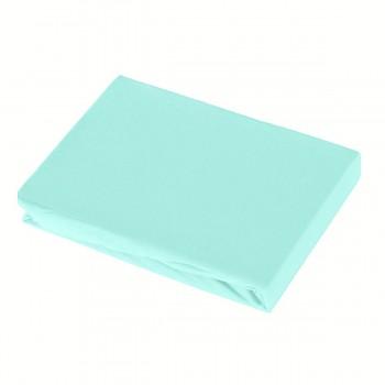 BLUE napínací žerzejové prostěradlo ze 100% biobavlny (90-100x200 cm) s růženínem  - světle modrá