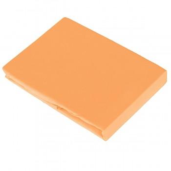 MANGO napínací žerzejové prostěradlo ze 100% biobavlny (140-160x200 cm) s růženínem  - oranžová mango