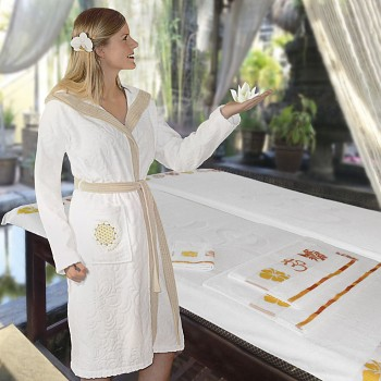 SAND dámský župan ze 100% biobavlny s růženínem a ametystem - bílá