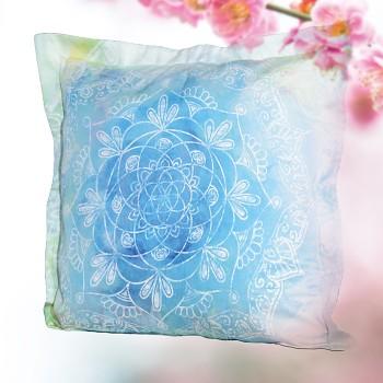 BLUE DREAM povlak na polštář ze 100% biobavlny (40 x 40 cm) s růženínem  - modrá