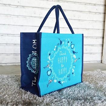 HAPPY velká jutová taška - tyrkysová