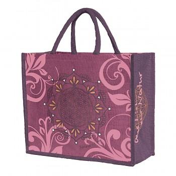 HAPPY velká jutová taška - fialová