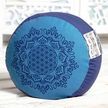 SUN meditační polštářek ze 100% biobavlny s růženíny a ametysty - modrá