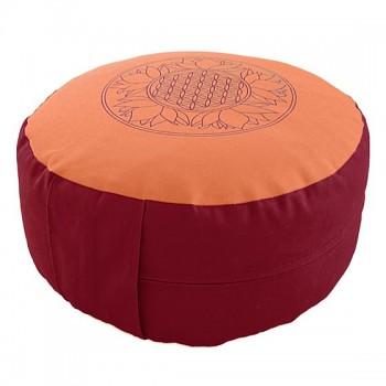 SUN meditační polštářek ze 100% biobavlny s růženíny a ametysty - červená