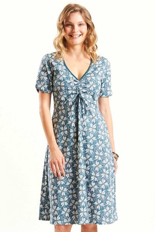3a67bb98c74 CROSS dámské letní šaty ze 100% biobavlny - šedomodrá verdigris ...