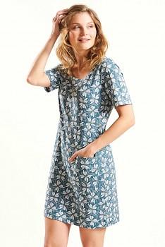PAPILLON dámské letní mini šaty / tunika ze 100% biobavlny - světle modrá verdigris