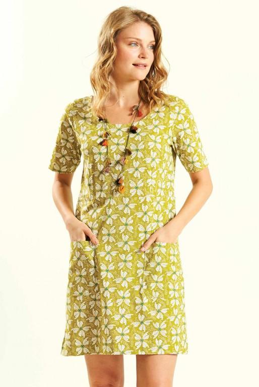 f44a725e205f PAPILLON dámské letní mini šaty   tunika ze 100% biobavlny - žlutá avocado