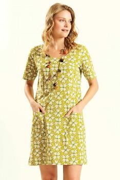 PAPILLON dámské letní mini šaty / tunika ze 100% biobavlny - žlutá avocado