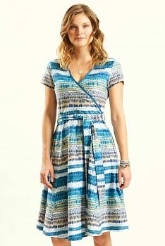 CROSS dámské letní šaty ze 100% biobavlny - modrá aegean