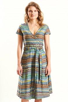CROSS dámské letní šaty ze 100% biobavlny - šedomodrá verdigris
