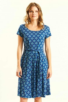 WIND dámské letní šaty ze 100% biobavlny - modrá indigo